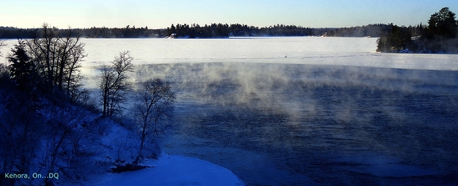 -31CWindChill...Steaming Open Waters Kenora, Ontario Canada