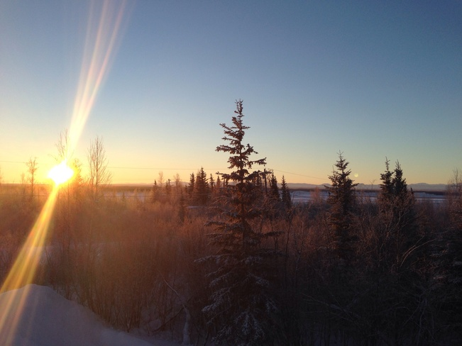 Winter solstice - highest sun at noon Norman Wells, Northwest Territories Canada