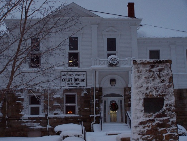Snow on The Victoria County Courthouse Baddeck, Nova Scotia Canada