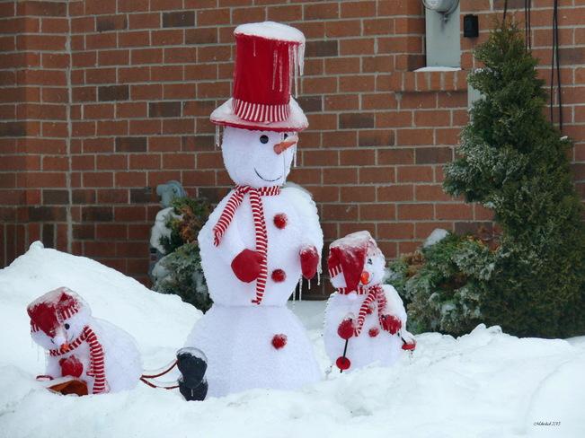 Snow man family Richmond Hill, Ontario Canada