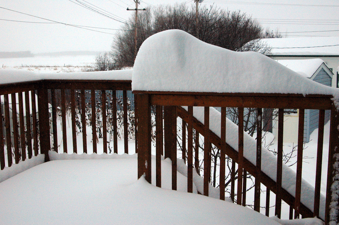 Snow on the porch Grimshaw, Alberta Canada