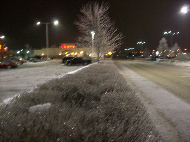 Saturday night the 21st and the Ice was still Falling Belleville, Ontario Canada