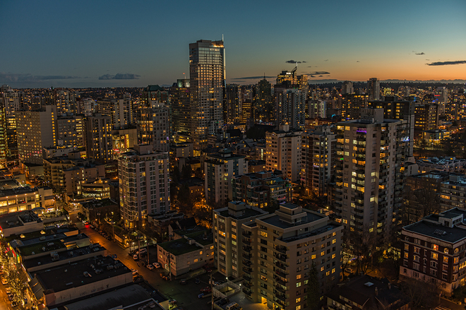 Gorgeous December sunset downtown Vancouver, British Columbia Canada
