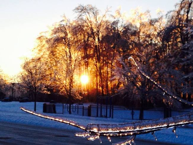 Sunset through the ice Courtice, Ontario Canada