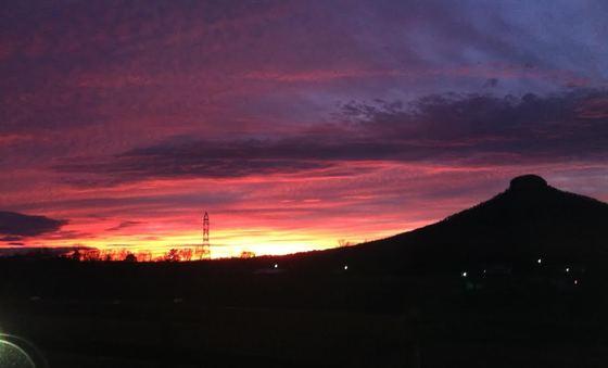 Sunset at Pilot Mt Dec 23 2013