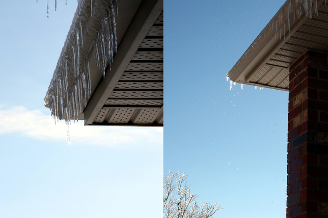 Ice on Our Roof is Starting to Melt Guelph, Ontario Canada