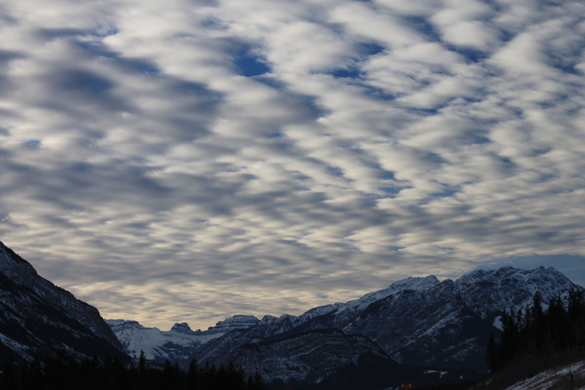 Zig Zag Clouds over the Rockies Canmore, Alberta Canada
