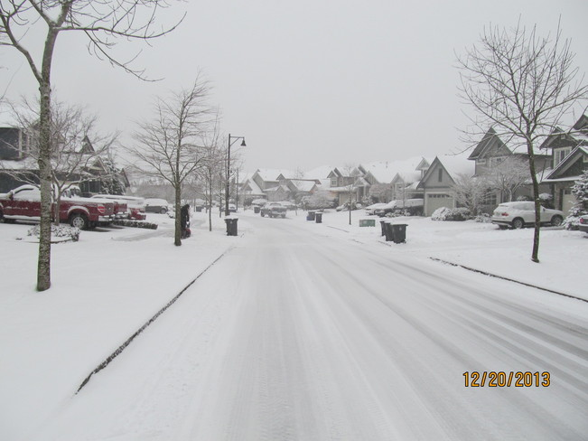New Snow on our Street Cloverdale, British Columbia Canada