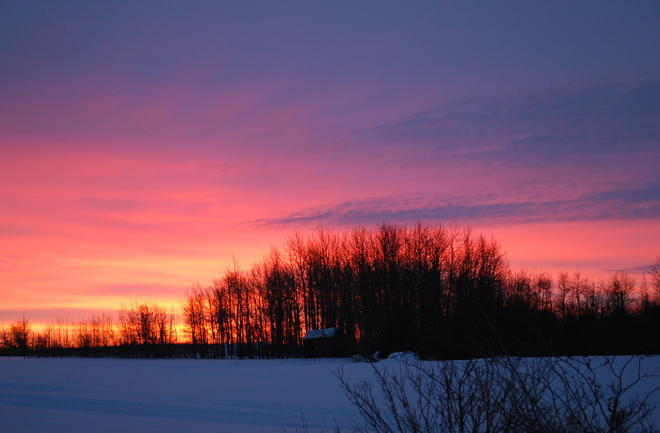 Boxing Day sunrise Clyde, Alberta Canada