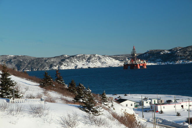 oil drilling rig heading out to see after Christmas Day's storm, as seen from Be Bell Island, Newfoundland and Labrador Canada