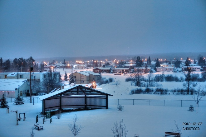 Snow continue to fall lightly Swan Hills, Alberta Canada