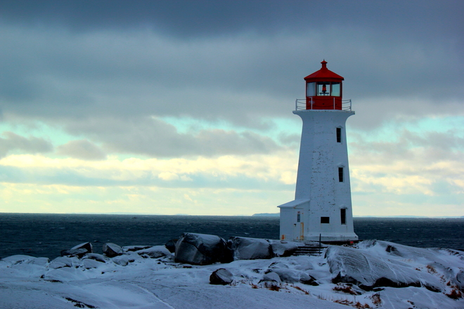 Chilly day at Peggy's Peggys Cove, Nova Scotia Canada