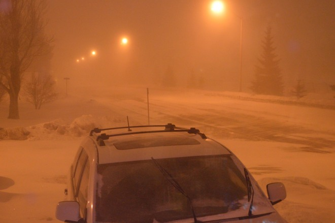 Blowing snow in Olds Olds, Alberta Canada