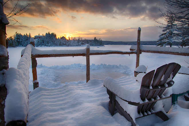 Dichotomy of the Lake New Ross, Nova Scotia Canada