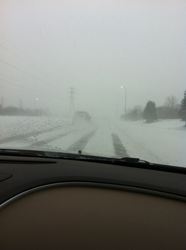out on the highway in blizzard Winnipeg, Manitoba Canada