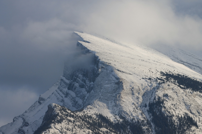 Wind Swept-ed Slopes of Mt. Rundle Banff, Alberta Canada