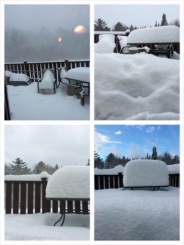 Patio Table Snow Pile Fredericton, New Brunswick Canada