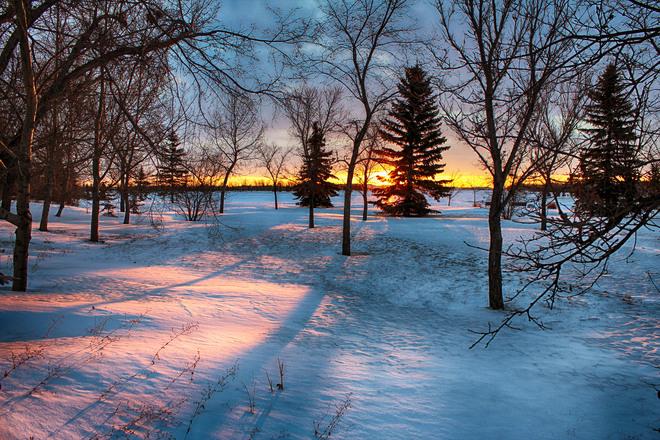 Sun On East Calgary. Calgary, Alberta Canada