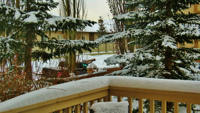 more snow on the deck Edmonton, Alberta Canada