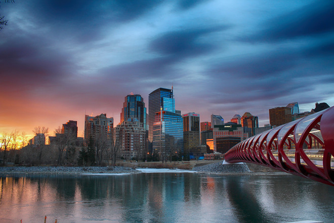 Calgary's Peace Bridge At Sunrise. Calgary, Alberta Canada