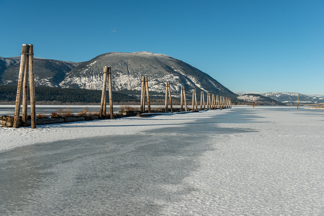 The bay on a beautiful winter day Salmon Arm, British Columbia Canada
