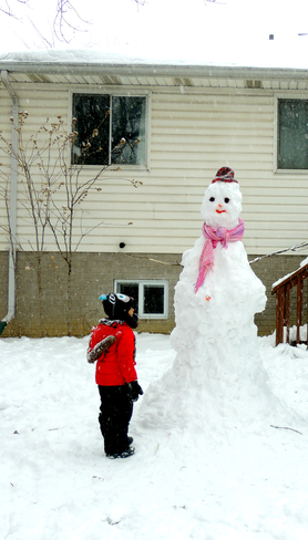 Six Feet Tall Snow Man , Before the Sunday Storm Windsor, Ontario Canada