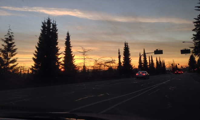 Sunset on the road North Vancouver, British Columbia Canada