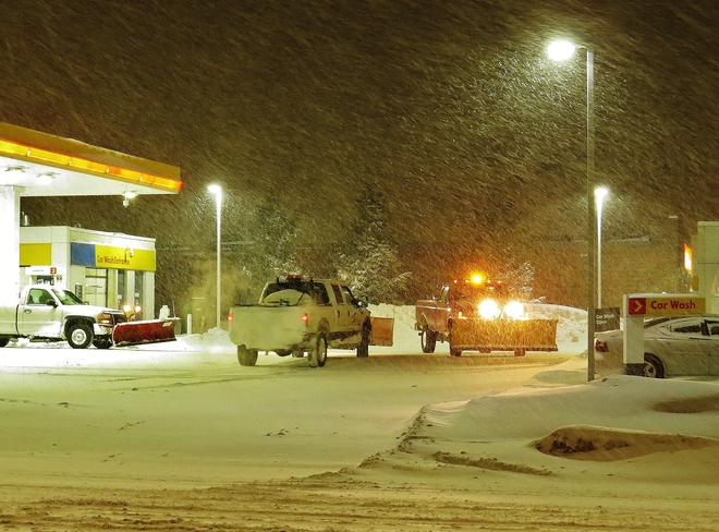 Busy night for pumps and plows! North Bay, Ontario Canada