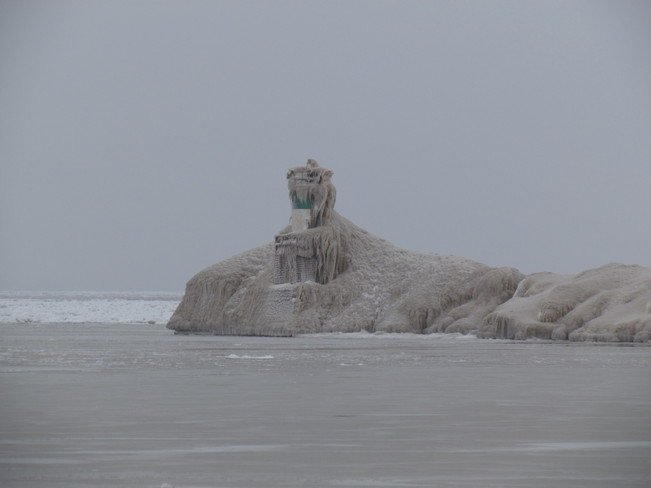 Frozen lighthouse Port Burwell, Ontario Canada
