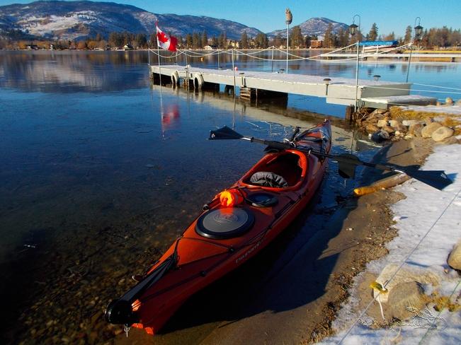 Calm afternoon kayaking Skaha Lake Penticton, British Columbia Canada