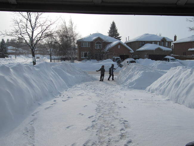 Shoveling the Driveway Barrie, Ontario Canada