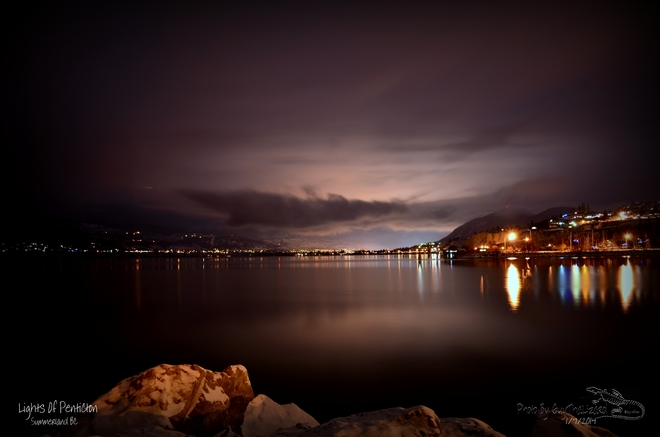 Night shot of the lights in Penticton Summerland, British Columbia Canada