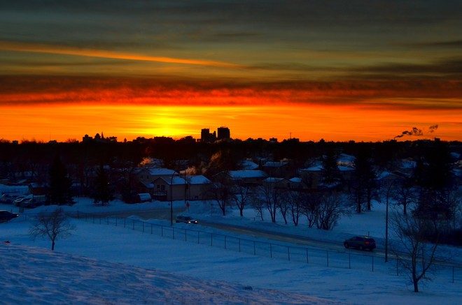 sundown in a frozen town Winnipeg, Manitoba Canada