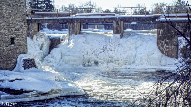 Frozen Water Fall in Smiths Falls Smiths Falls, Ontario Canada