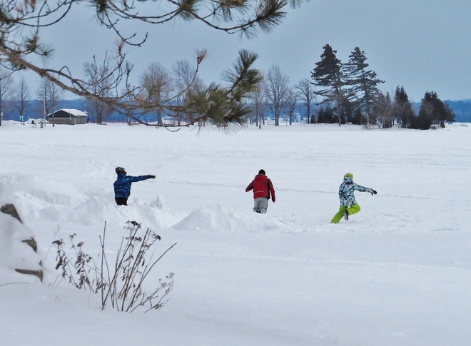 Snowball fight among friends to keep warm?!? North Bay, Ontario Canada
