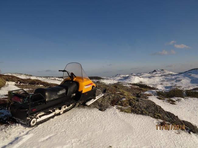 Riding high on ski doo Rock Harbour, Newfoundland and Labrador Canada