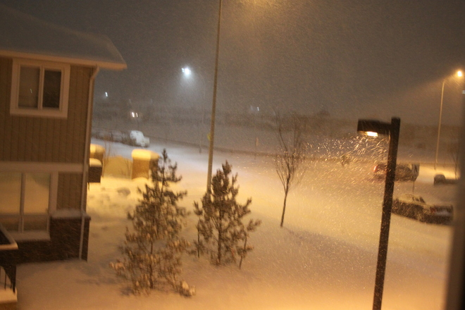 Falling snow everywhere Fort McMurray, Alberta Canada