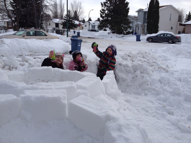 Hot chocolate and snow forts. Winnipeg, Manitoba Canada
