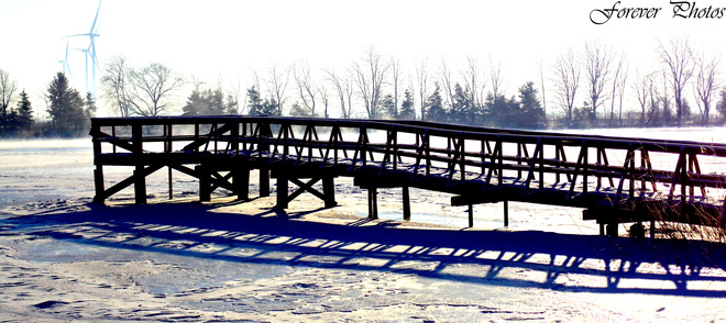 Bridge over misty waters Chatham, Ontario Canada