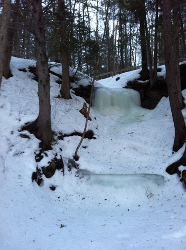 frozen water fall Fitzroy Harbour, Ontario Canada