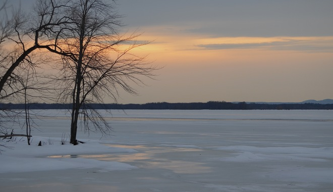 Ottawa River January thaw Orleans, Ontario Canada