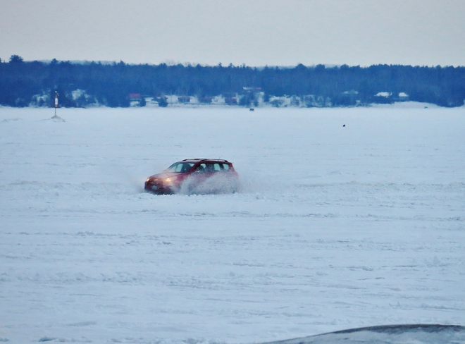 Slushy ride home from a day's fishing. North Bay, Ontario Canada