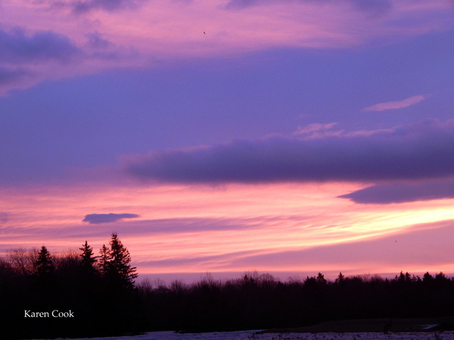 Pink skies Kingston, Nova Scotia Canada