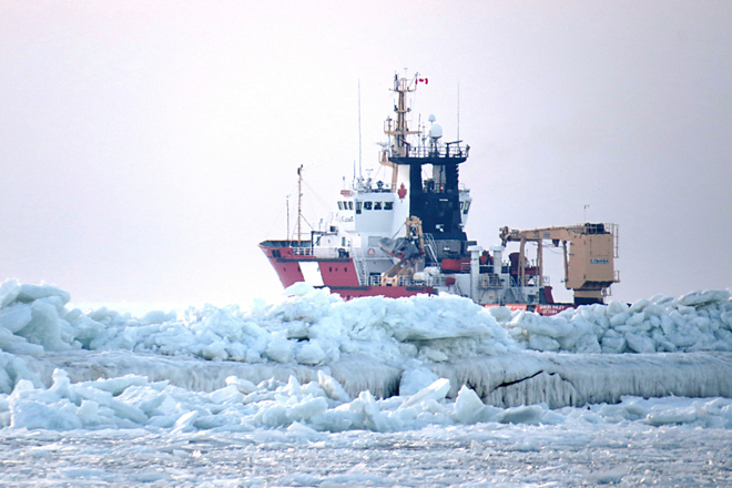 Ice breaker on duty at the Port of Goderich Goderich, Ontario Canada