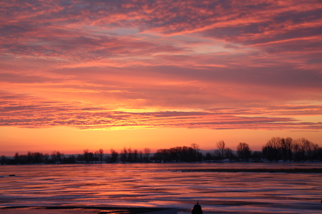 Sunrise on the St. Lawrence river Summerstown Station, Ontario Canada