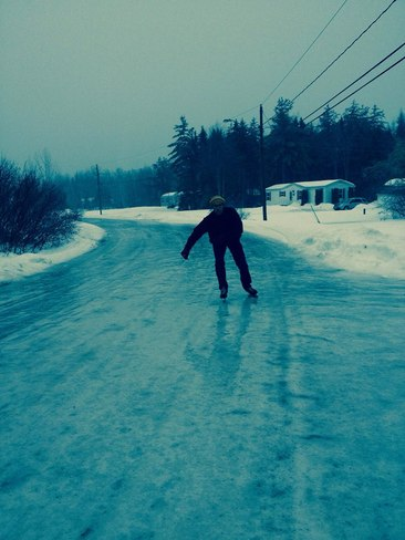 Skating on Street Oromocto, New Brunswick Canada