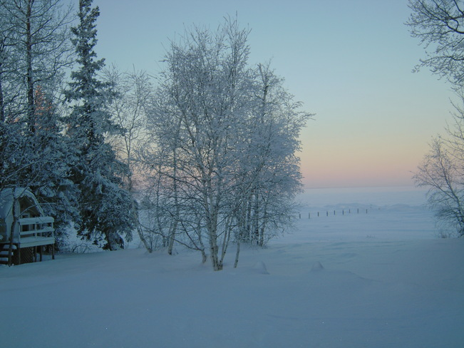 Winter morning over Clearwater Lake The Pas, Manitoba Canada