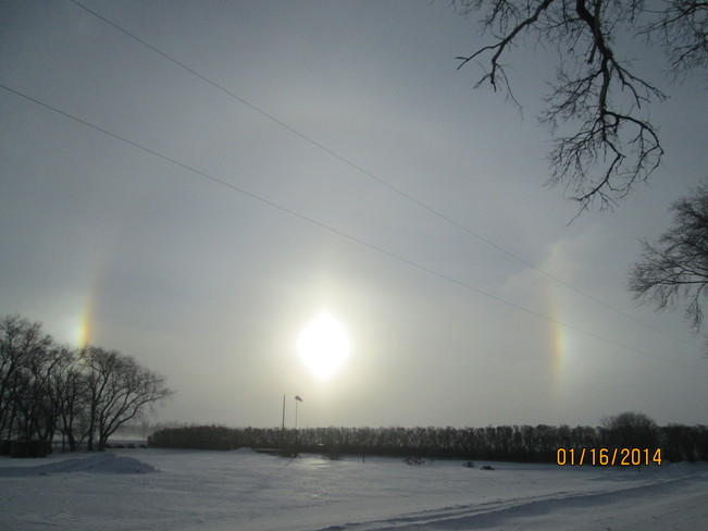 Sundogs during blizzard Carman, Manitoba Canada