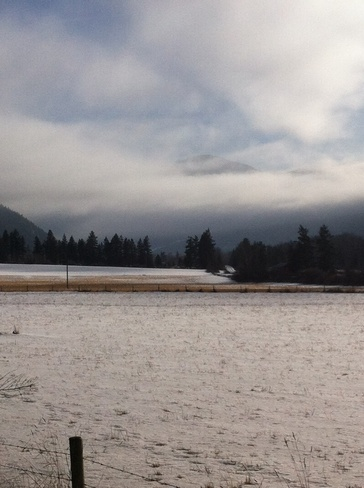 fog is lifting Lake Country, British Columbia Canada
