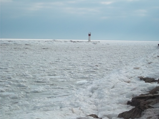 pic number two ice jam at the mouth of the grand to lake erie Dunnville, Ontario Canada